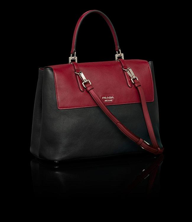 Buy Prada BN2790 2E7L F050V Black+Burgundy Flap Bag, Price ...