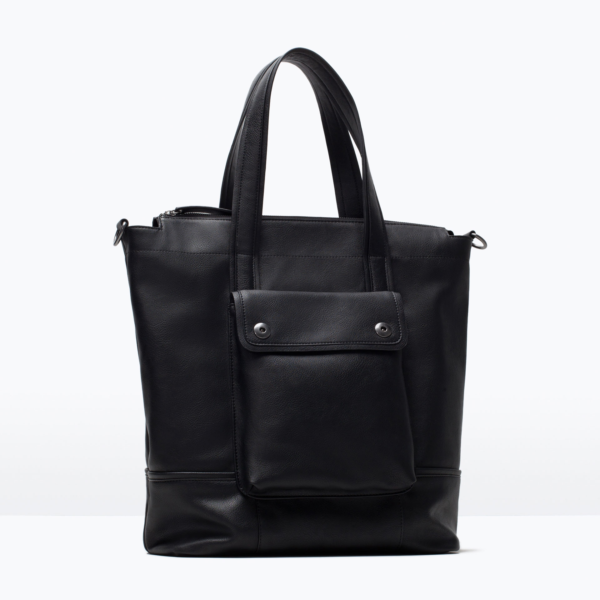 Zara Shopper Bag Black Zara Shopper Bag With Front